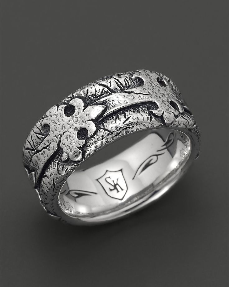 Scott Kay Men's Sterling Silver Distressed Fleur de Lis Band Ring