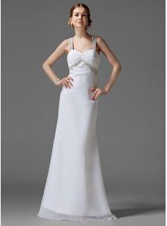 Holiday Dresses Empire Sweetheart Sweep Train Chiffon  Charmeuse Holiday Dresses With Ruffle  Beading (020003243)