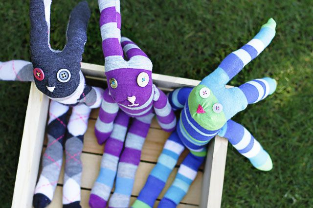 DIY: sock bunny  Made these with the Grandchildren before Easter!  Lots of fun.  They did all of the stuffing!
