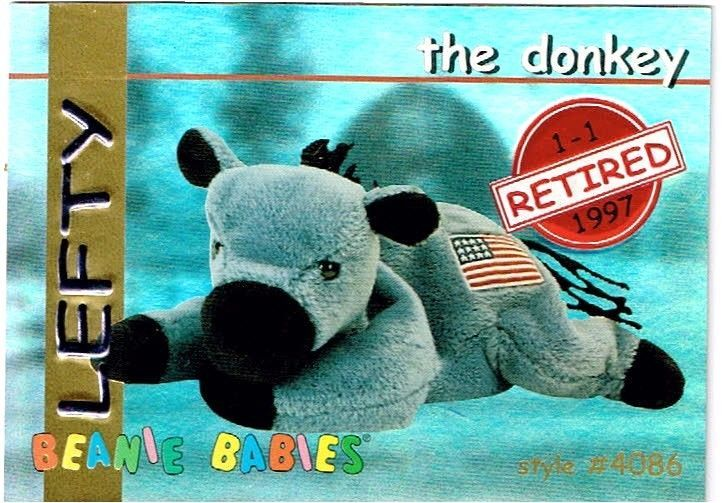 Ty Beanie Babie Collector Card REFRACTOR ' Lefty' The Donkey Retired Style # 408