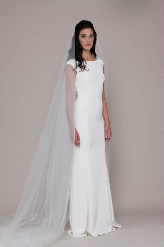 Cap Sleeve Sleek Wedding Dress By Elizabeth Stuart