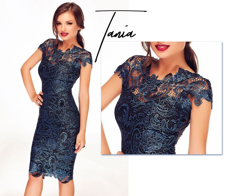 Blue midi dress made entirely from lace in blue hues: http://bit.ly/blue-tania-midi-dress