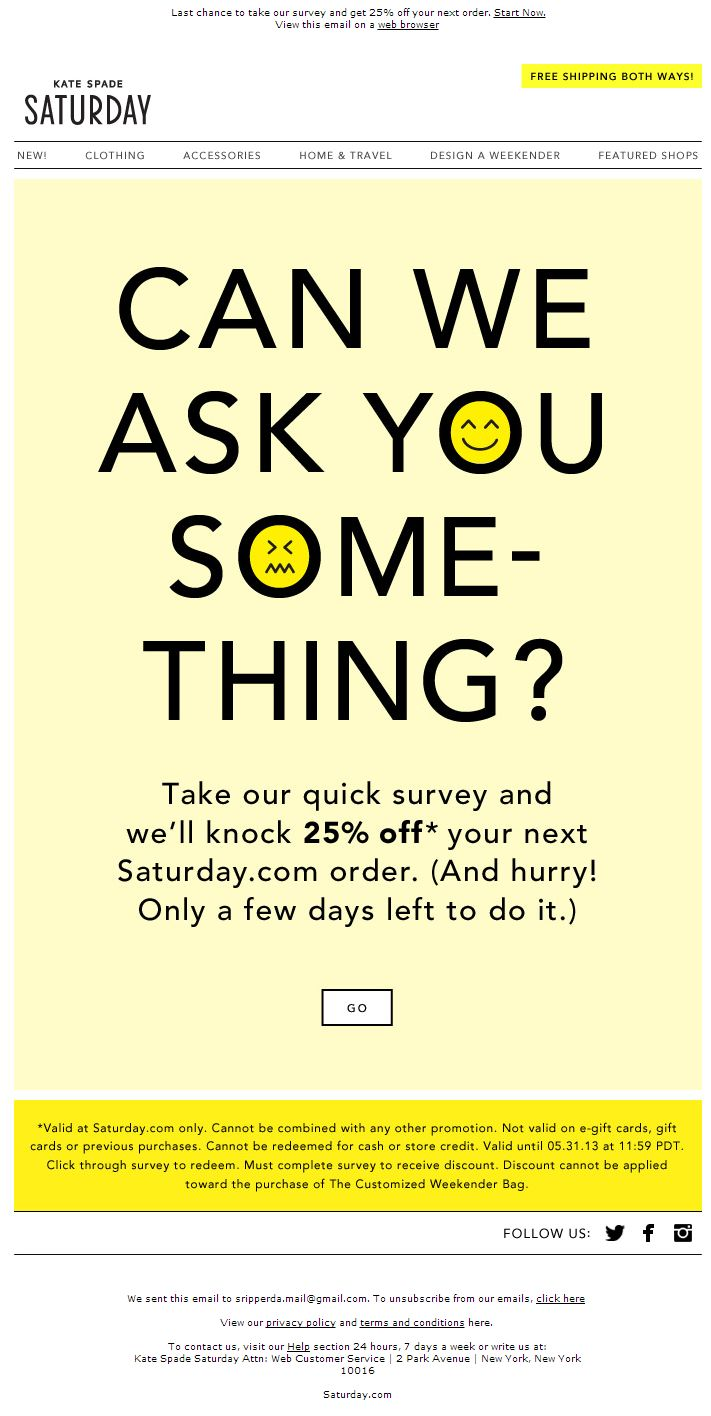 hm, what could this mailing be about? :) perfect focus on the survey.  #newsletter by Kate Spade