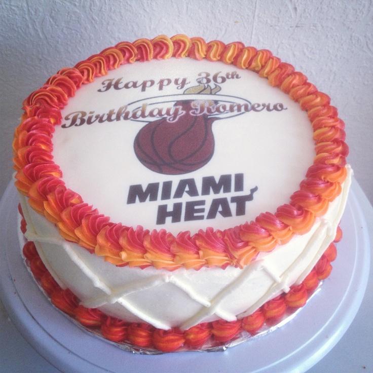 Miami Heat Birthday Cake by Twin Cupcakery