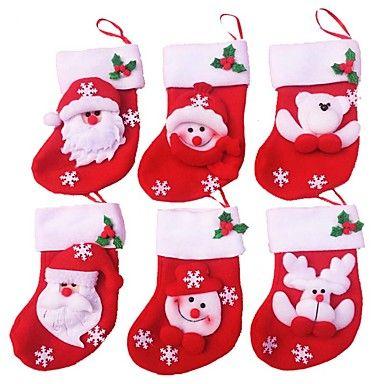 6 шт / много веселых рождественских носков рождественские украшения для домашнего подарка Дед Мороз рождественские украшения украшения 5330074 2016 – €828.11