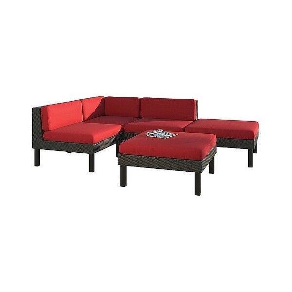 Oakland Sectional with Chaise Lounge Patio Set ($1,820) ❤ liked on Polyvore featuring home, outdoors, patio furniture, outdoor loungers & day beds, red, outside patio furniture, outdoor chaise lounger, contemporary sectionals, outdoor garden furniture and contemporary outdoor furniture