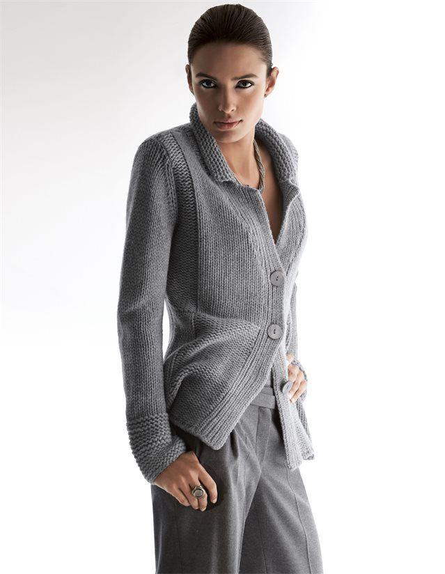 Damen Kaschmir-Strickjacke mit großen Knöpfen in den Farben grau, puderrosé, helltaupe, mintgrün, wollweiß - elfenbein - rosa, taupe, grün, weiß - im MADELEINE Mode Onlineshop