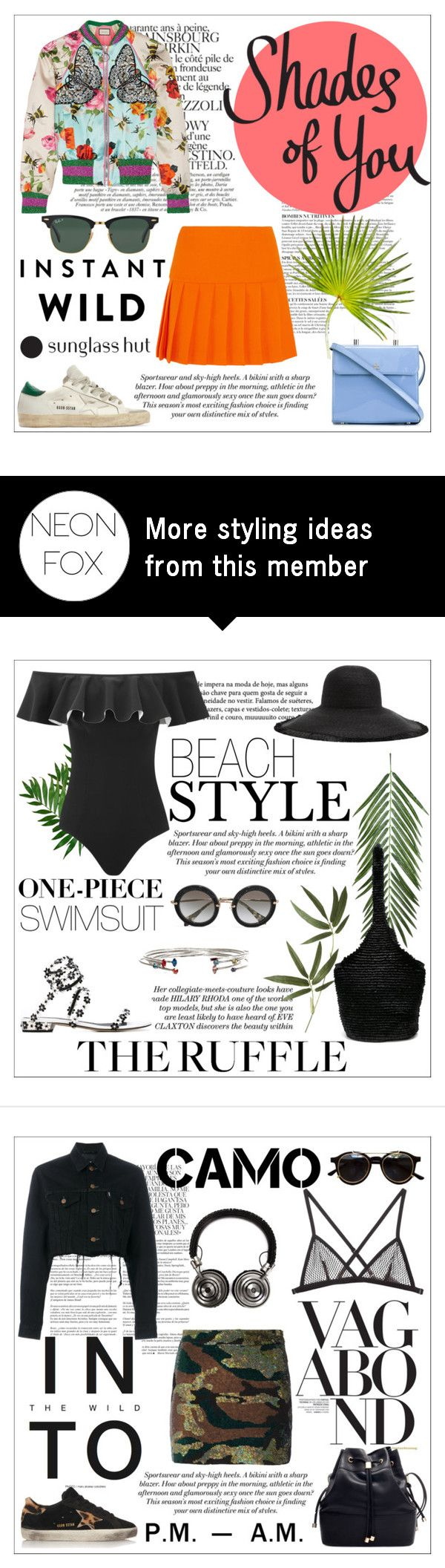 """""""Shades of You: Sunglass Hut Contest Entry"""" by neon-fox on Polyvore featuring H&M, Anja, Chanel, Courrèges, Gucci, Miu Miu, Golden Goose, Ray-Ban and shadesofyou"""
