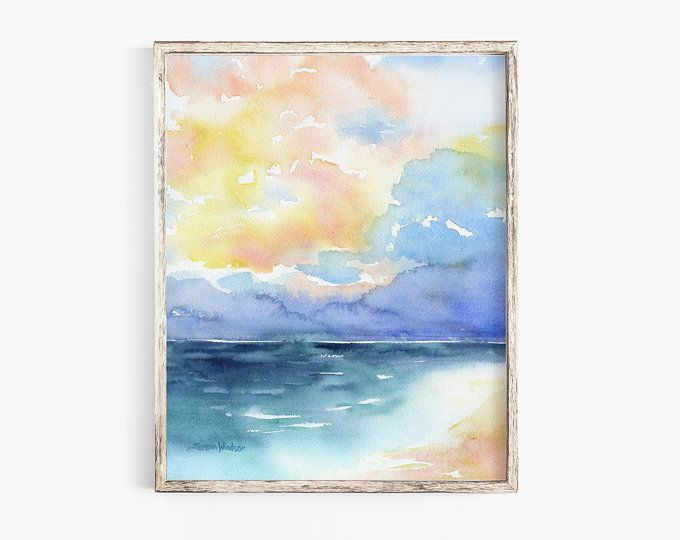 Stormy Ocean Watercolor Painting 10 X 8 11 X 8 5 Giclee