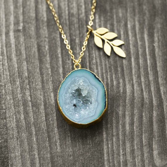 OOAK 14k gold filled necklace with agate druzy by koshikira, $199.00