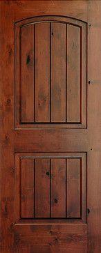 Interior Doors - Rustic Arch 2-Panel V-Grooved Knotty Alder Wood Door. Mediterranean Interior Doors.