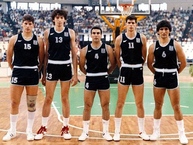 Eurobasket 1987. The Starting Five of the Greek National Team in the first game it won Yugoslavia 84 - 78.----Nikos GALIS with teammates Fanis Christodoulou, Panagiotis Fasoulas, Nikos Filippou and Panagiotis Giannakis.