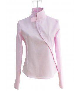 Chemise femme Ken Okada coton pique rose asymetrique originale