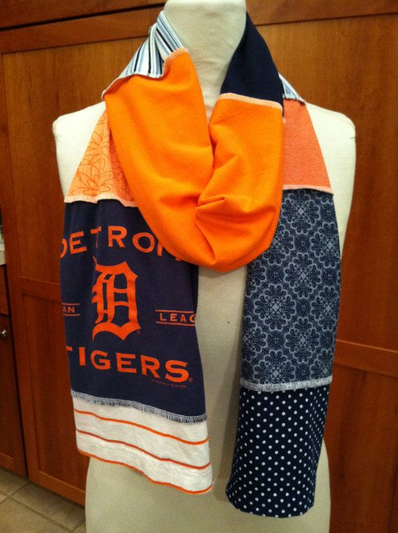 UPCYCLED t-shirt scarf... DETROIT TIGERS... baseball... World Series... blue and orange