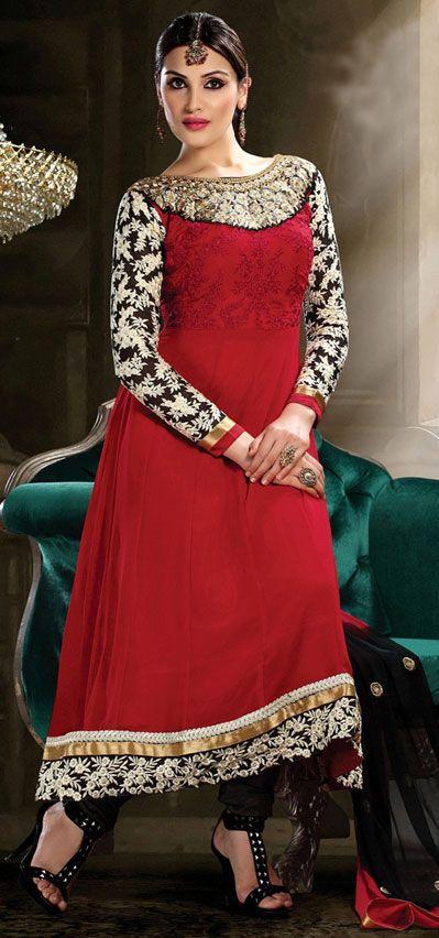 USD 26.52 Red Georgette Long Anarkali Salwar Kameez 43198