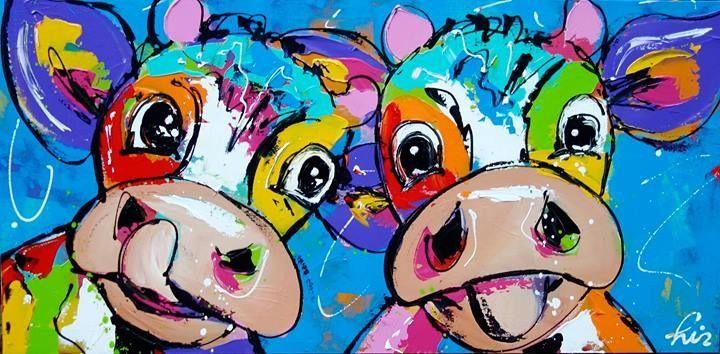 Vrolijk schilderij! koeien