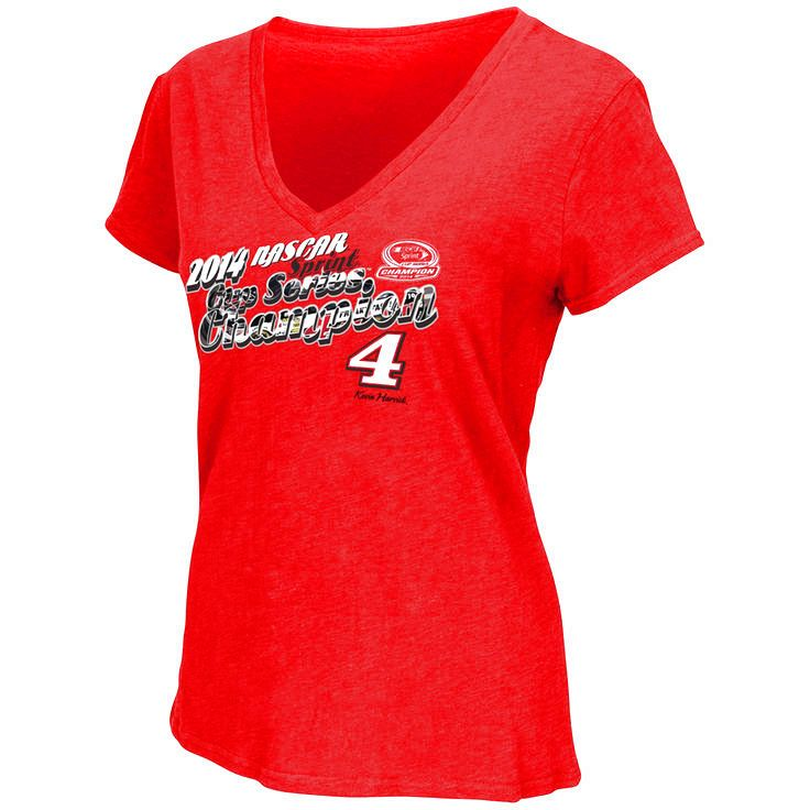 Kevin Harvick Womens 2014 NASCAR Sprint Cup Series Champion V-Neck T-Shirt - Red - $18.04