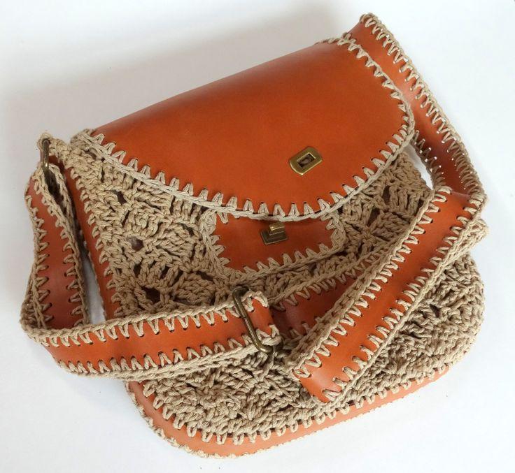 Crochet and leather - bag - handbag