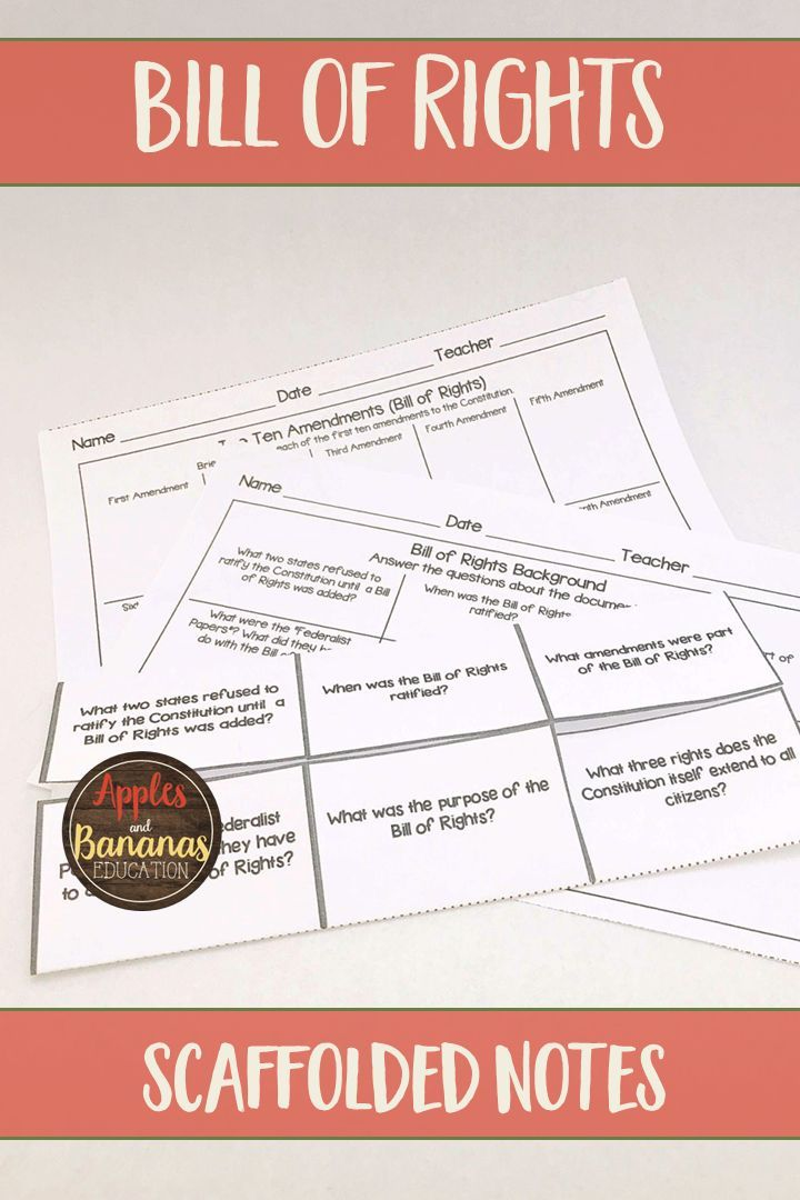 Bill Of Rights Interactive Note Taking Activities American