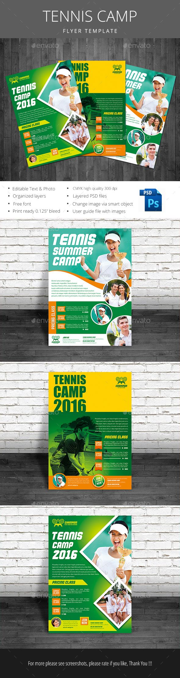 Tennis Camp Flyer by monggokerso Tennis Camp file features : Size A4 210297 mm   Bleed area CMYK / 300 dpi Easy to edit text Well organized PSD file 3 Alternative