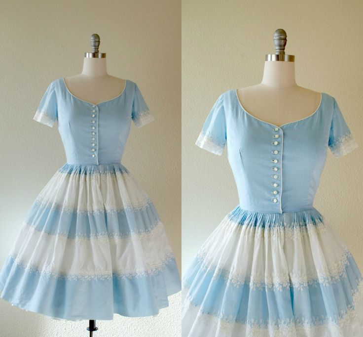 Incredible vintage 1950s dress, pale blue and white cotton organdy body with delicate floral embroidery throughout, short sleeve, fitted bodice,
