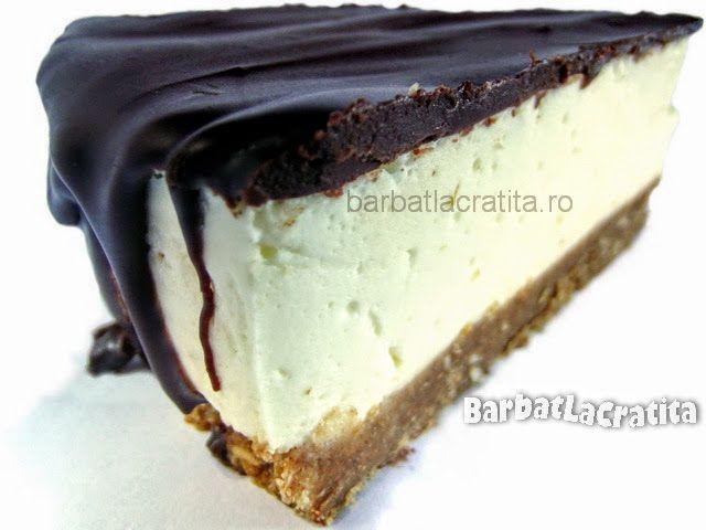 Cheesecake fara coacere cu glazura de ciocolata