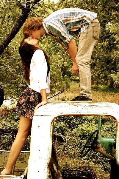 cute rustic car kiss. #photoshoot #summer