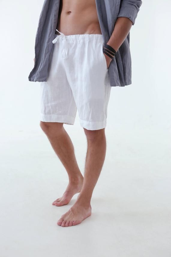 Mens Leinen Shorts Sommer Shorts Shorts für Männer Mans Bio-Kleidung Strand Shorts Basic Shorts Weiße Shorts Weihnachtsgeschenk Natürliche Shorts   – Products