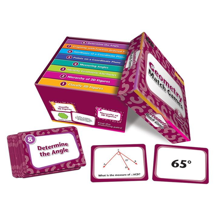 "Geometry Match Games: Grades 4-5 One box of Geometry Match Games is really 8 games in one! Each box contains 8 individual games, each with 22 cards (11 matching pairs in each game), for a total of 176 cards. Each game's cards are color-coded and stored in their own matching storage sleeve, so cards won't get mixed up. The games can be played by an individual student, in pairs, or in small groups. Cards measure 3""L x 4""W.   Games Included: • Classify 2D Figures • Hierarchy of 2D Figures •…"