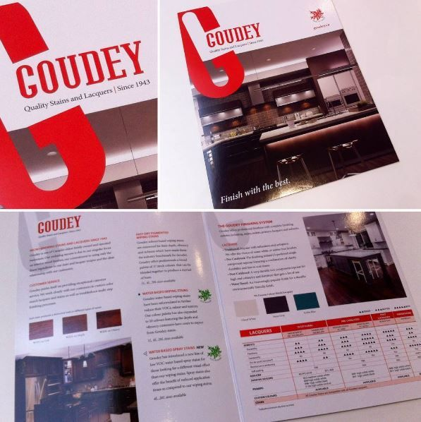 """Goudey, around since 1943, needed to refresh their marketing material. A 25.5""""x11"""" brochure with full UV coating makes them stand apart, just like their quality stains and lacquers. #design #graphicdesign #marketing #brochure #uv #uvcoating #smallbusiness #businesstobusiness #promotion #wood #woodstain #lacquer #branding #toronto #canada #mississauga #goudey"""