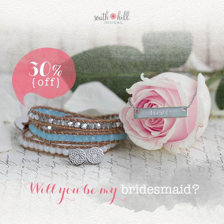 """My """"I do"""" would not be the same without you. Dazzle your bridesmaids with this month's Two-Day Temptation featuring the gorgeous Pool Blue Crystal Wrap, a Silver 'Love' Bar Necklace and the Silver Tone South Hill Flower Stud Earrings. Get these fabulous finds for 30% off until May 29, 2015!"""