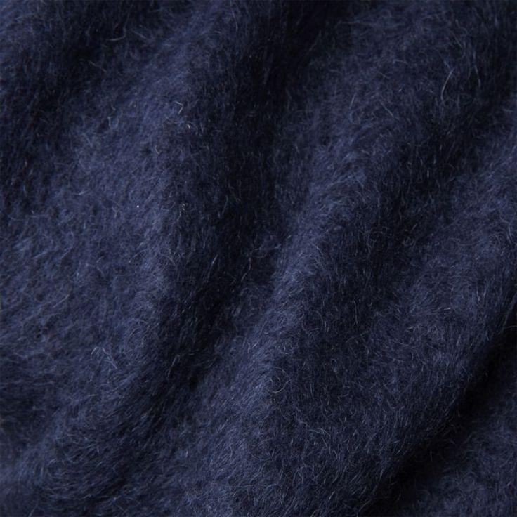 Navy Blue Mohair Throw