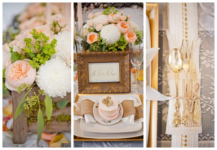 Ivory and Peach Wedding Table Details