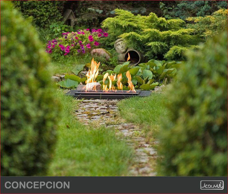 Kominek na biopaliwo w ogrodzie - aranżacja  ogrodu. #biokominki #kominki #aranzacje #oswietlenie #dom #ogrod