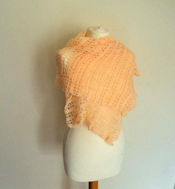 Handmade Peach Crochet Shawl