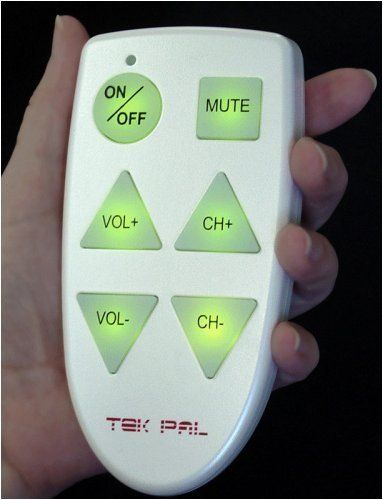 Tek Pal Simple Remote Control by SeniorShops.com. $18.90. Makes technology simple. When you push a button, all the buttons light up. Easiest to see and easiest to use large-button available. 6 large, lighted buttons operate your television. There are no codes to enter. This remote can be used with a cable ready TV, but not with TVs that use a cable or satellite box.