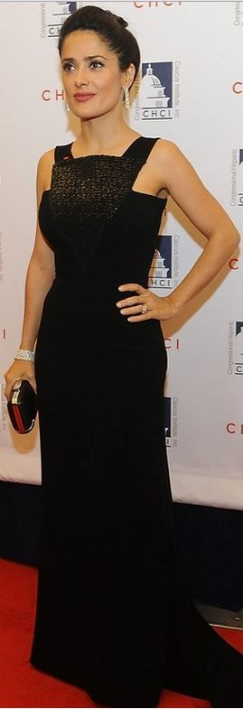 Salma Hayek wore Balenciaga to accept her CHCI Medallion of Excellence Award at the Congressional Hispanic Caucus Institute gala Oct. 2, 2013 in Washington, DC.