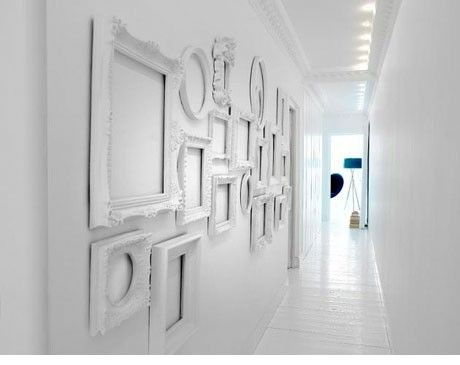 simplicity of white.: Empty Frames, Galleries Wall, Frames Collage, Frames Wall, White Frames, Narrow Hallways, Pictures Frames, Frames Art, White Wall