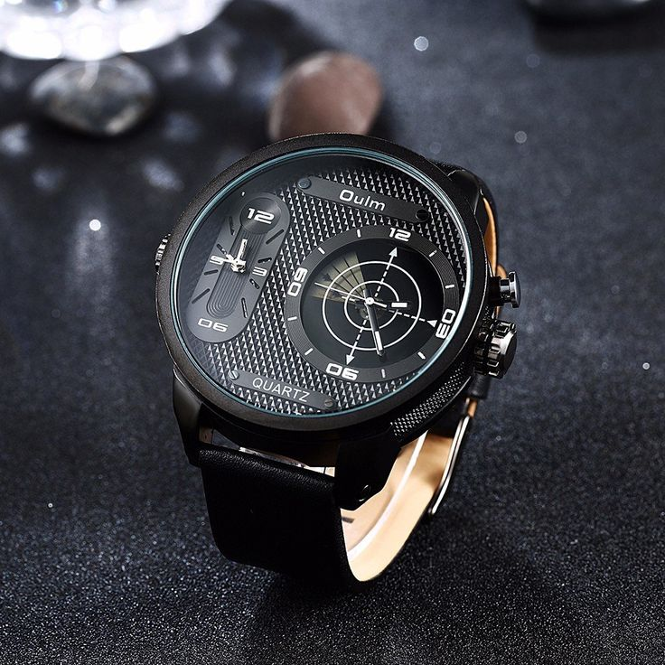 OULM Men Watch Alloy Leather Two Movement Sport Men Watch  men women fashion jewelry watches