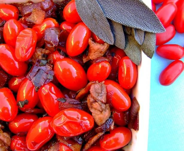 Grape Tomatoes With Onion, Bacon and Sage | Recipe