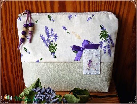 Meska - Levendulás vintage  táska, pénztárca, neszeszer pannika kézművestől
