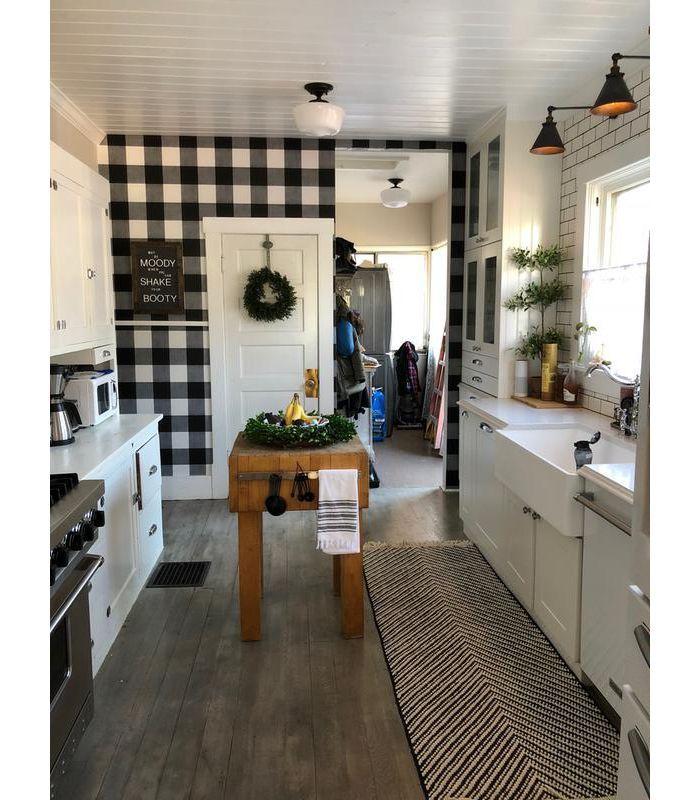 Buffalo Plaid Peel Stick Wallpaper Black Threshold Home Kitchen Models Farmhouse Kitchen Decor