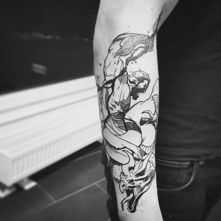 """Zeus vs. Typhon Reihenfolge: fertiges Tattoo - unsere Ausarbeitung - Idee des Kunden #mdkink…"""""""