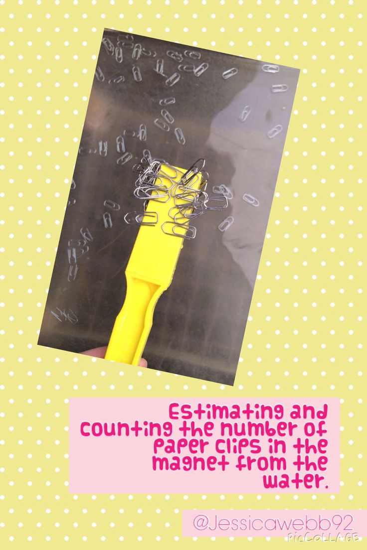 Pick up some paper clips from the water using the magnet. Estimate how many you picked up. Count to check your esimate