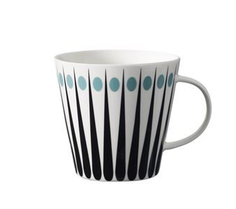 The Amanda is a beautiful tea mug in bone china from Superliving with a bold and distinctive design. The black and white graphic pattern is broken up by bold colored dots. Available in different colors.