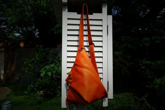 023 Handmade Leather Sling Backpack One Shoulder by alwaysoozz