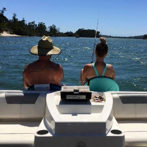 My favourite past time all in one photo   #fishing #catchingraysfordays #wallislake #forster #bowrider @nathansfloorsanding take me back !