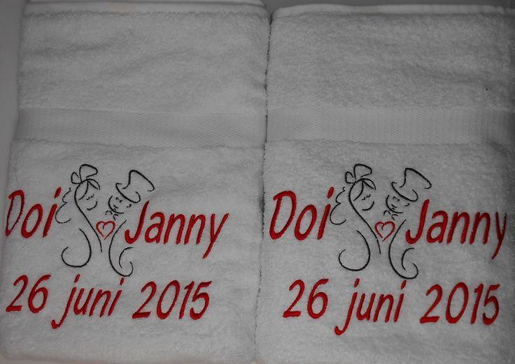 douchelakens met huwelijk patroon en namen en datum http://www.borduurkoning.nl/shop/