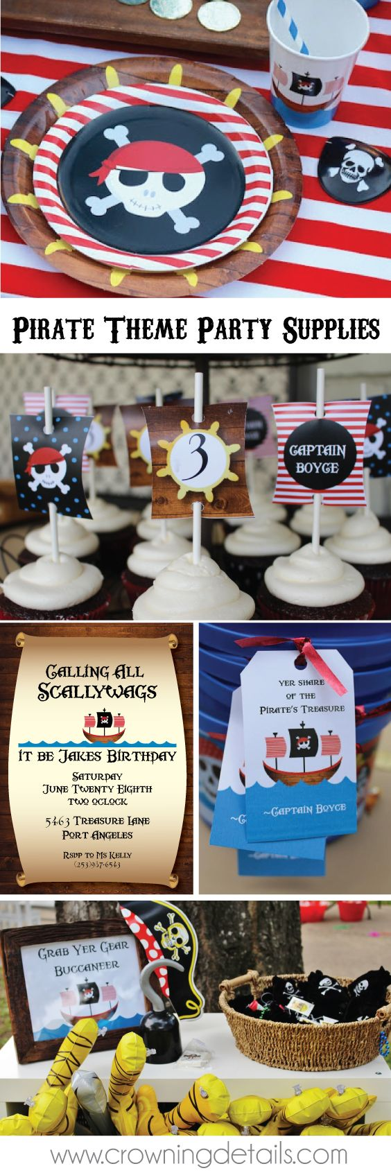 Pirate party supplies for your pirate birthday party! Shop the collection in our online store.  pirate invitations & pirate plates