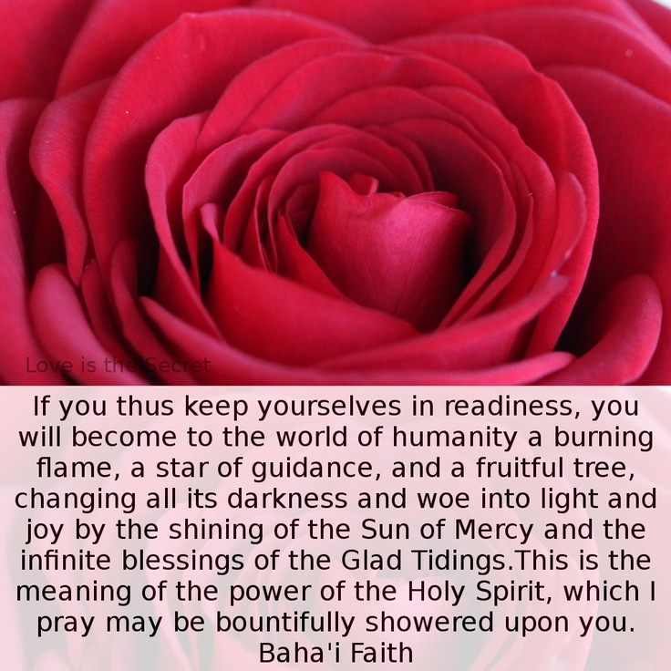If you thus keep yourselves in readiness, you will become to the world of humanity a burning flame, a star of guidance, and a fruitful tree, changing all its darkness and woe into light and joy by the shining of the Sun of Mercy and the infinite blessings of the Glad Tidings.  This is the meaning of the power of the Holy Spirit, which I pray may be bountifully showered upon you.  Source: http://www.bahairesearch.com/  Abdu'l-Baha Paris talks p.167